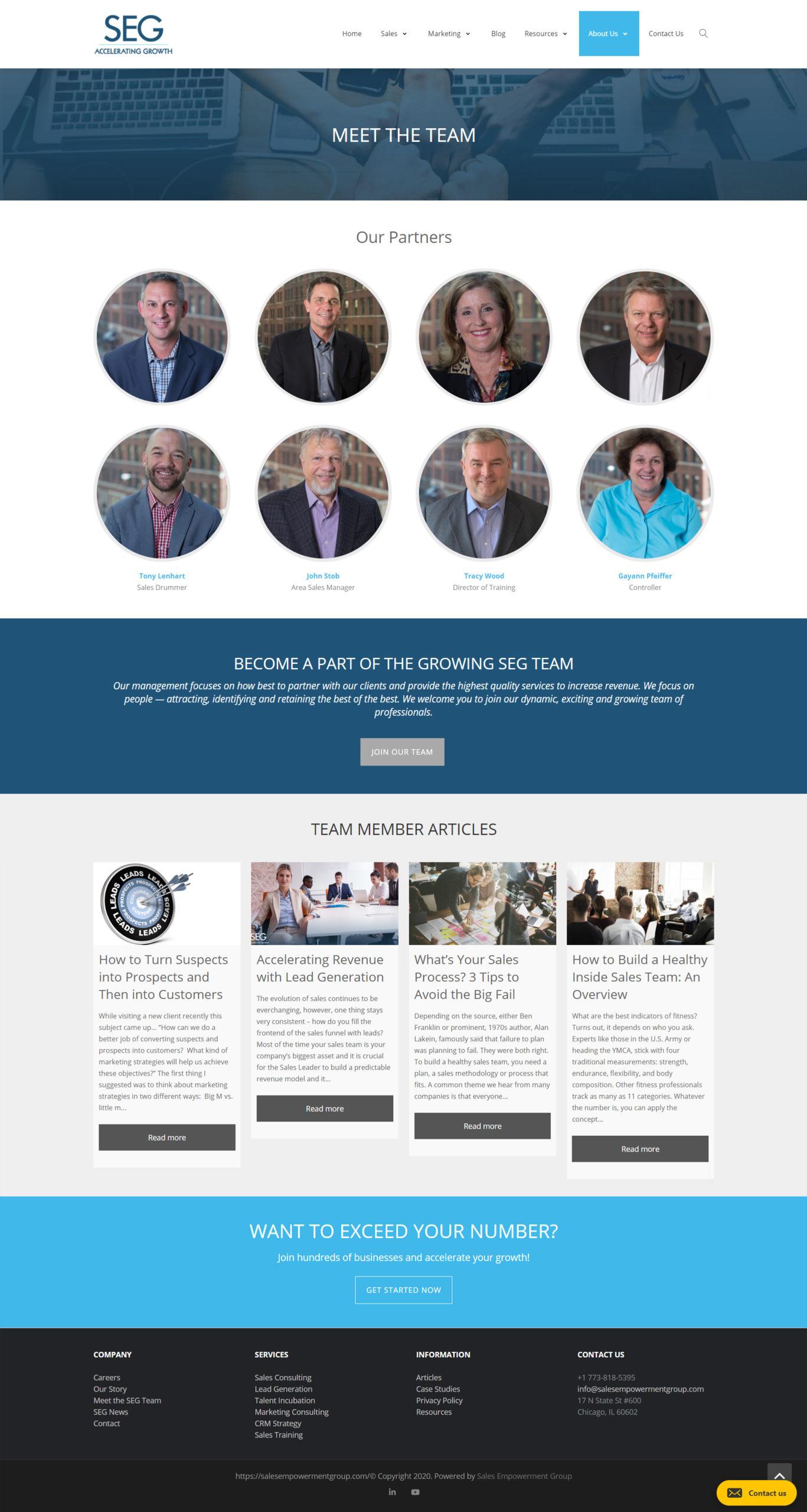 Screenshot of the SEG web page Meet the Team